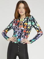 Alice + Olivia Ruthy Staceface Printed Cardigan