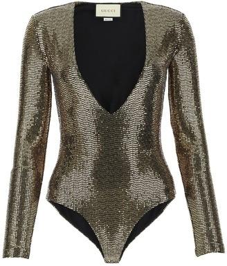 Gucci Metallic Effect Deep V Bodysuit