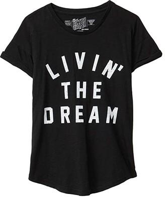 The Original Retro Brand Kids Livin' The Dream Vintage Slub Tee with Rolled Sleeve (Big Kids) (Black) Girl's Clothing
