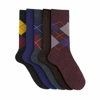 Mens Boxed 5 Pack Cotton Rich Ankle Socks Navy Brown /& Argyle Diamond Pattern