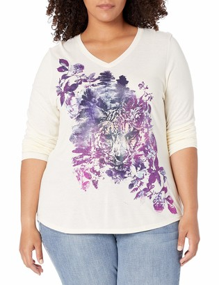Just My Size Women's Plus Sizelong Sleeve Graphic V-Neck Tee Size