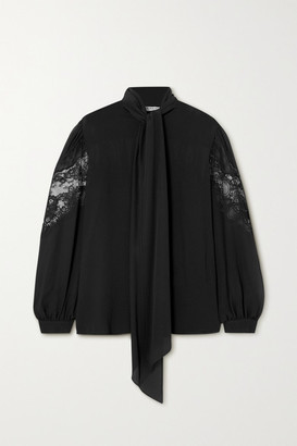 Givenchy Pussy-bow Lace-trimmed Silk-chiffon Blouse - Black