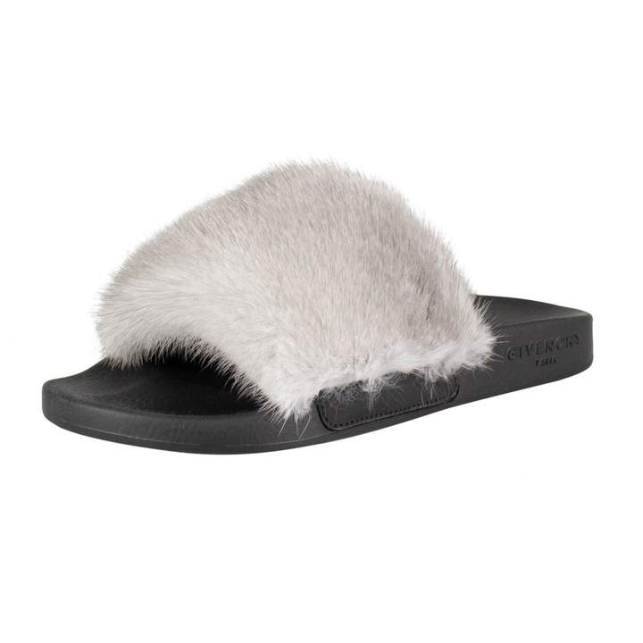 Givenchy Grey Fur Sandals