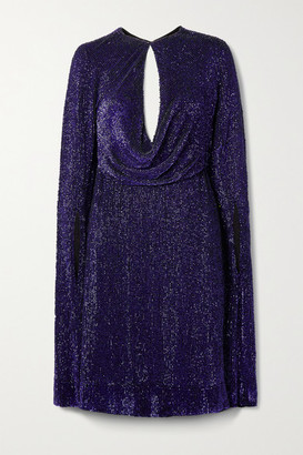 Reem Acra Cape-effect Cutout Draped Sequined Tulle Dress - Purple