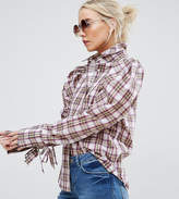 Asos Check Shirt With Exaggerated Sleeve