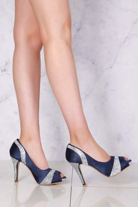 Miss Diva Solange Diamante Peep Toe Shoes in Navy