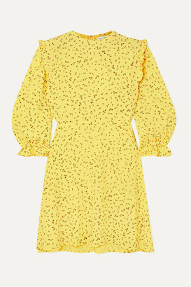 Faithfull The Brand Edwina Ruffled Floral-print Crepe Mini Dress - Yellow