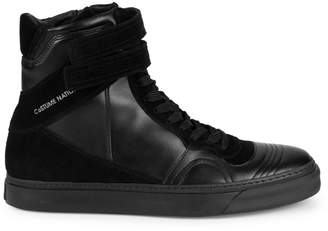 CNC Costume National Leather & Suede Velcro Strap High-Top Sneakers