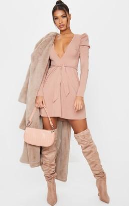 Pure Camel V Neck Puff Sleeve Tie Skater Dress