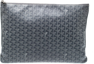 Goyard Grey Chevron Print Coated Canvas Senat Clutch