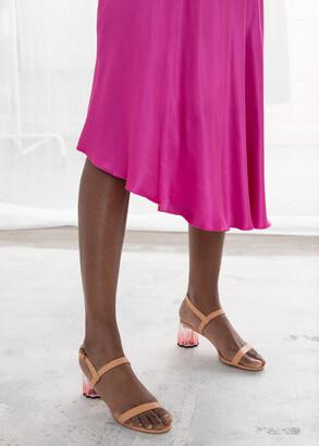 And other stories Asymmetric Satin Midi Skirt