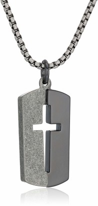 "Steve Madden Men's Black and Silver Cross Design Dogtag Necklace on 26"" Box Chain in Black IP Stainless Steel Black/Silver-Tone 26"