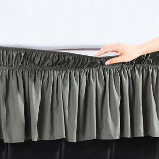 Orient Home Collection Easy Wrap Platform Free Dust Ruffle Bed Skirt, Grey, Twin/Full