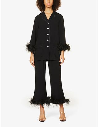 Sleeper Party feather-trim woven pyjama set