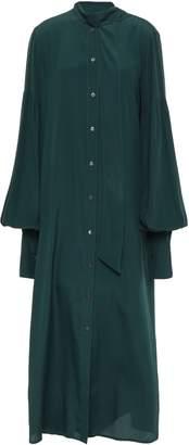 Rokh Oversized Tie-neck Crepe De Chine Maxi Shirt Dress
