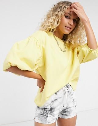 Vila puff sleeve sweatshirt in yellow