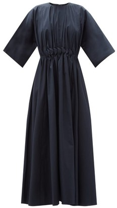 Roksanda Manu Smocked Cotton-poplin Dress - Navy
