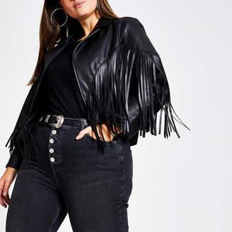 River Island Plus black faux leather fringe crop jacket