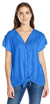 Notations Women's Solid Knit Extented Shoulder Tie Front Button Down Blouse