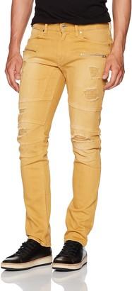 GUESS Men's Slim Taper Destroy Jean in Dusty Yellow