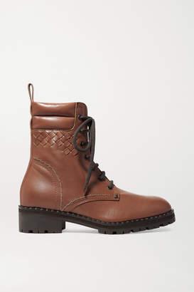 Bottega Veneta Intrecciato Leather Ankle Boots - Brown