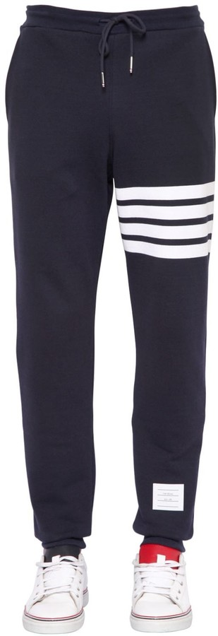 Thom Browne Cotton Sweatpants W/ Intarsia Stripes