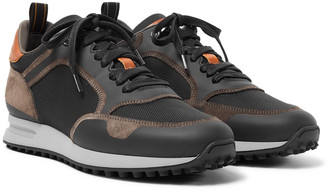 Dunhill Radial Runner Leather And Suede-trimmed Mesh Sneakers - Black