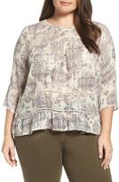 Lucky Brand Plus Size Women's Button Back Ruffle Hem Print Top