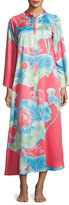 Natori Lian Floral-Print Zip Caftan, Coral, Plus Size