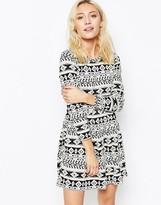 Iska Long Sleece Skater Dress in Geo-Tribal Print