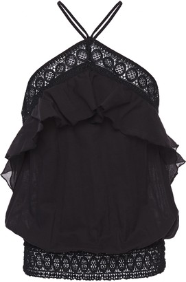 Charo Ruiz Ibiza Ruffled Crocheted Lace-trimmed Cotton-blend Gauze Top