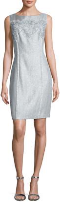 Kay Unger New York Floral Tweed Sheath Dress, Sky Blue