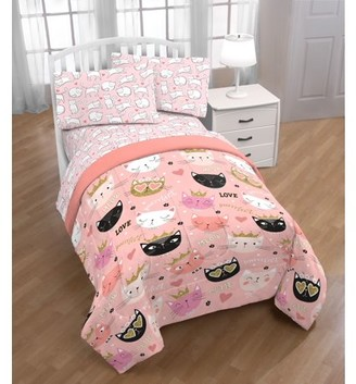 Trend Collector Cat Twin Bed in a Bag w/ Reversible Pink Comforter