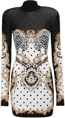 Balmain Baroque Jacquard Knit Mini Dress