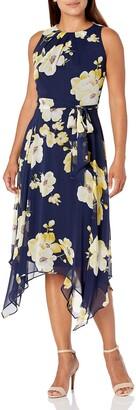 Jessica Howard JessicaHoward Women's Petite Sleeveless Fit and Flare Dress with Handkerchief Hem