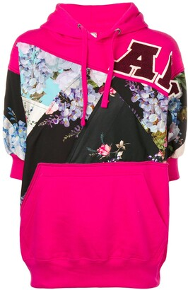 Antonio Marras Floral Panelled Hooded Sweatshirt