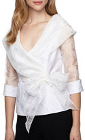 Alex Evenings Plus Illusion Sleeve Belted Blouse