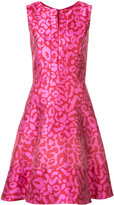 Oscar de la Renta allover print metallic dress - women - Silk/Polyester - 8