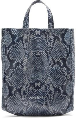 Acne Studios Large Snake-print Cotton-canvas Tote Bag - Blue White