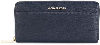MICHAEL Michael Kors Logo Plaque Zip Wallet