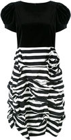 Comme des Garcons ruched two tone striped dress - women - Cotton - S