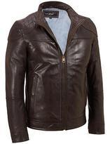 Black Rivet Mens Leather Quilted Shoulder Jacket W/ Lightweight Lining