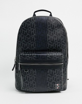 Tommy Hilfiger faux leather backpack in monogram print