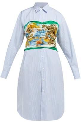 Junya Watanabe Bustier Cotton-poplin Shirtdress - Womens - Blue Multi