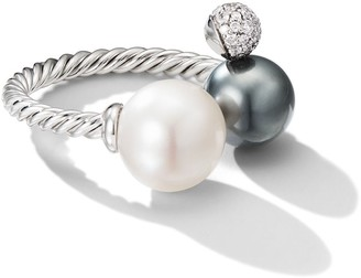David Yurman 18kt white gold Solari open cluster pearl and diamond ring