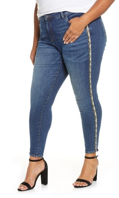 KUT from the Kloth Donna Snake Print Side Stripe Ankle Skinny Jeans