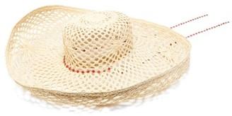 Maison Michel Brigite Chain-trimmed Straw Hat - Beige
