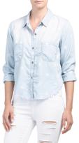 Juniors Star Print Chambray Shirt