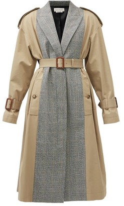 Alexander McQueen Checked Wool-blend And Cotton Trench Coat - Beige Multi