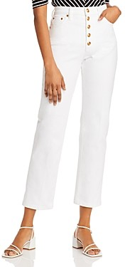 Tory Burch Button-Fly Straight-Leg Denim Jeans